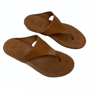 Fitflop Banda Tan Leather Thong Flip Flop Sandals